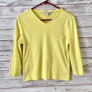Pendleton Basic 3/4 Sleeve Yellow Cotton Blouse